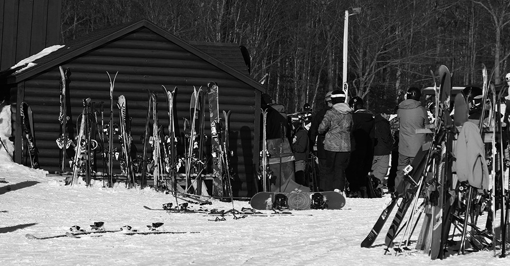 An image of the Waffle Cabin and skis at Bolton Valley Ski Resort in Vermont