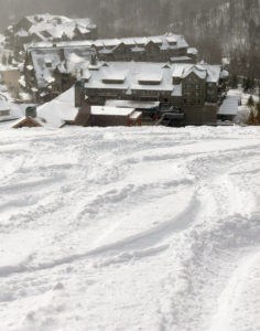 An image of ski tracks in powder snow on the West Slope are of Stowe Mountain Resort in Vermont