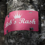 "An image of the ""Bob's Rash"" sign in the Bench Woods are at Stowe Mountain Ski Resort in Vermont"