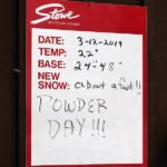 An image of the day's snow report with a foot of snow from Winter Storm Taylor at Stowe Mountain Ski Resort in Vermont