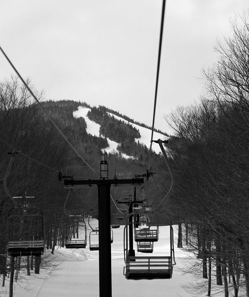 An image of some of the trails on Mt. Mansfield from the Toll House Chairlift at Stowe Mountain Resort in Vermont