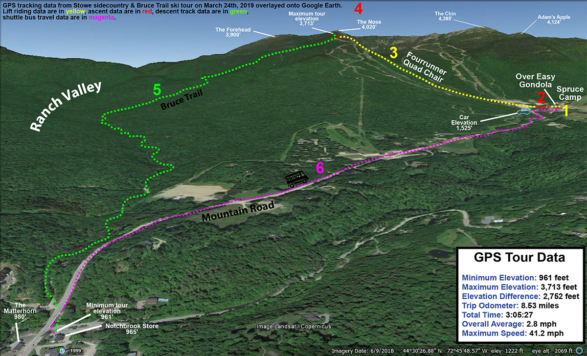 A Google Earth map with GPS Tracking data from a ski tour on the Bruce Trail in the Mt. Mansfield sidecountry near Stowe Mountain Resort in Vermont