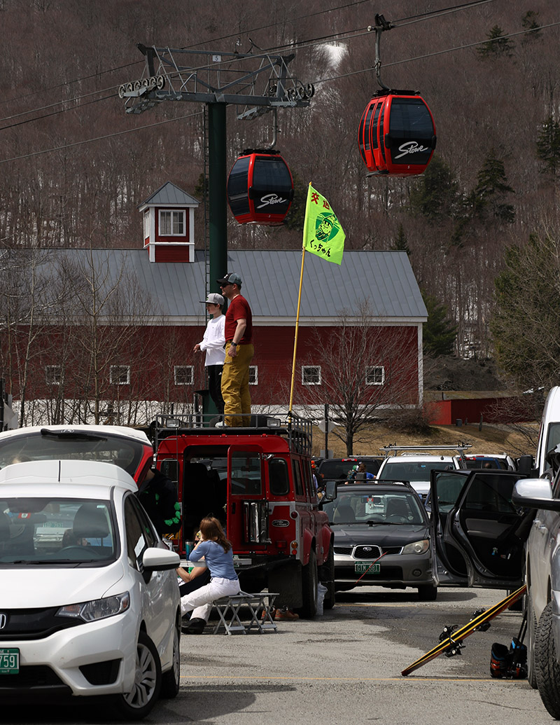 An image of Tailgaters in the Mansfield parking lot at Stowe Mountain Ski Resort in Vermont