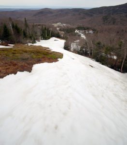 An image showing snow coverage on the Spillway trail in mid May at Bolton Valley Ski Resort in Vermont