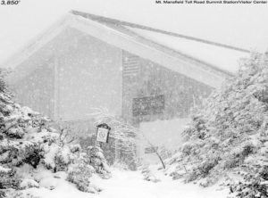 An image showing the Summit Station/Visitor Center atop Mt. Mansfield in Vermont during a May snowstorm