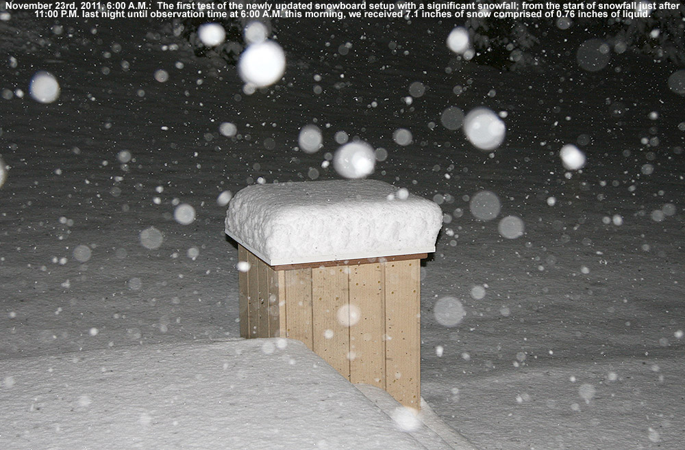 An image of snow collecting on elevated snowboard that is integrated into the back deck at our house in Waterbury, Vermont during a snowstorm on November 23, 2011