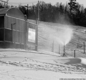 An image showing some snowmaking taking place in early November at the main base of Bolton Valley Ski Resort in Vermont