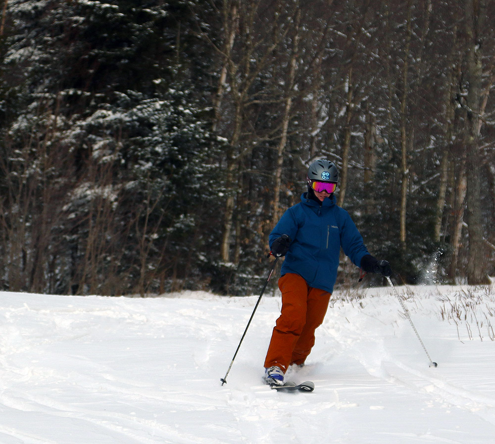 An image of Erica Telemark skiing in the Wilderness area of Bolton Valley Resort in Vermont