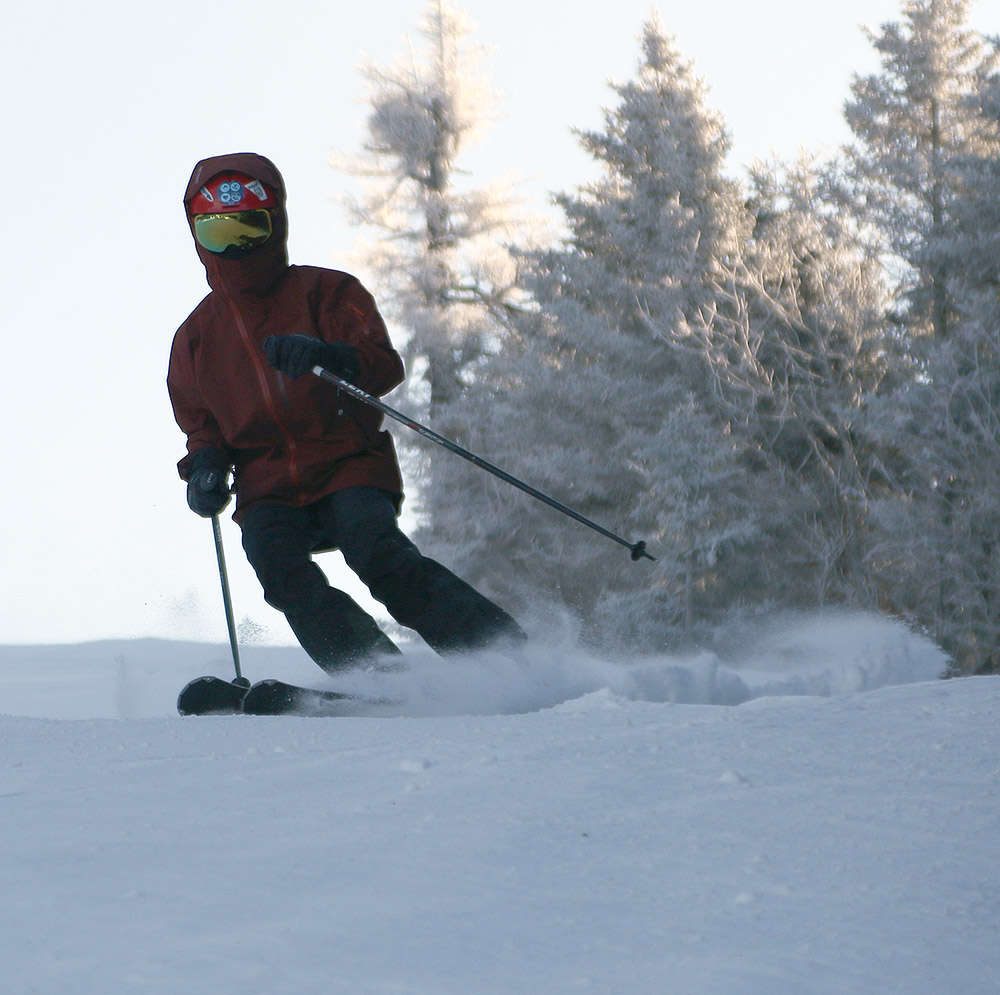 An image of Dylan skiing on the Alta Vista trail at Bolton Valley Resort in Vermont