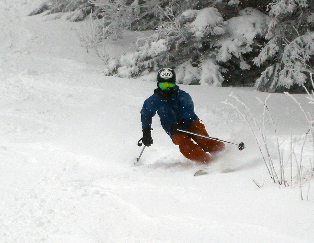 Ty cranking a turn in the fresh snow t at Bolton Valley Ski Resort in Vermont