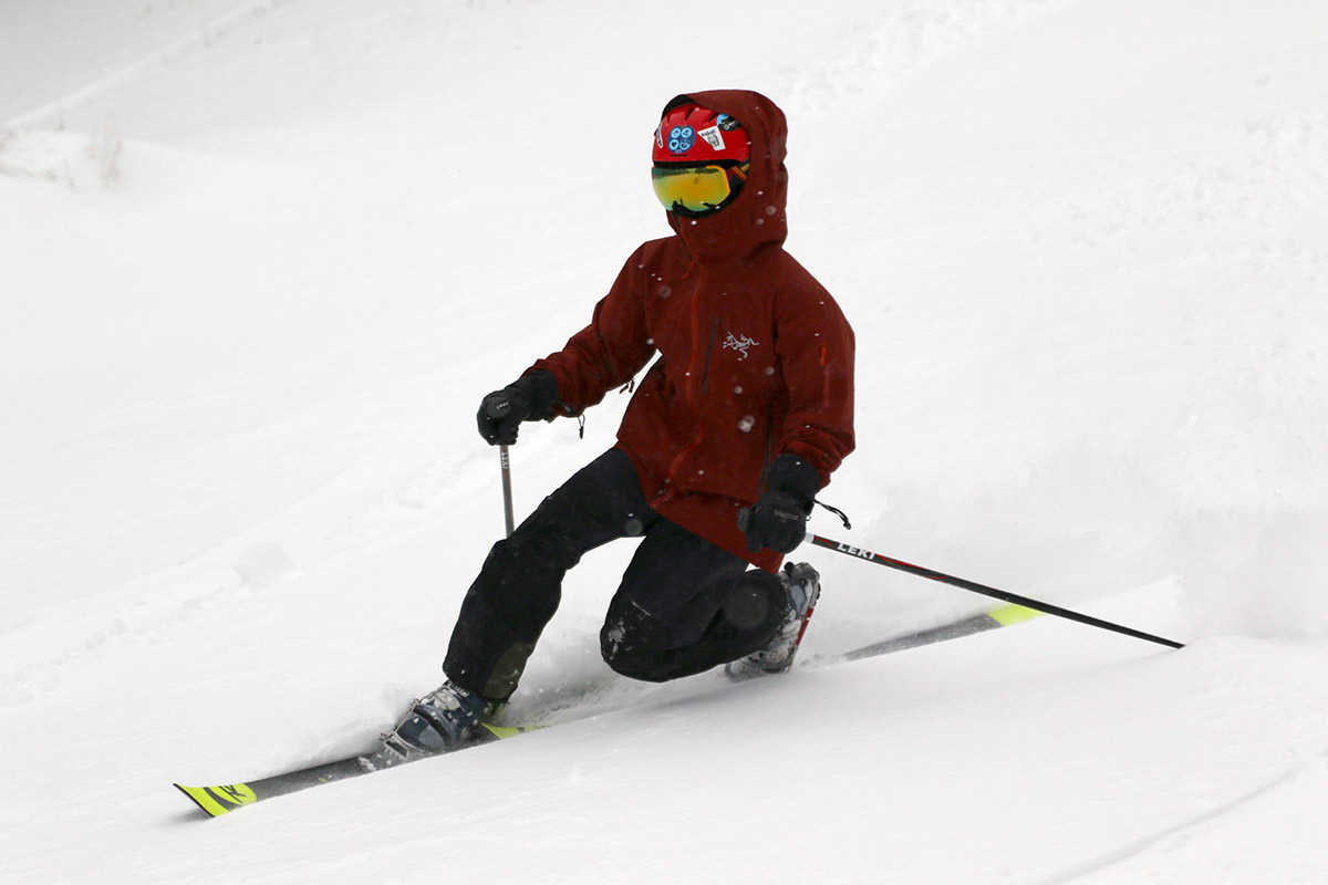 An image of Dylan making a Telemark turn at Bolton Valley Ski Resort in Vermont