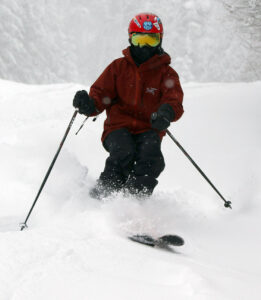 An image of Dylan skiing powder from Winter Storm Jacob in January 2020 at Bolton Valley Resort in Vermont