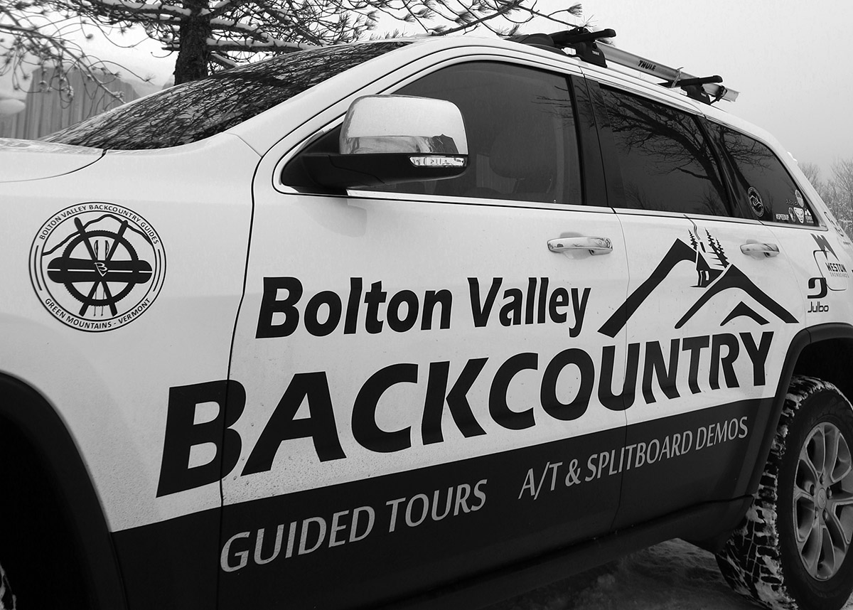 An image of the logo on the Bolton Valley Backcountry promotional vehicle at Bolton Valley Ski Resort in Vermont