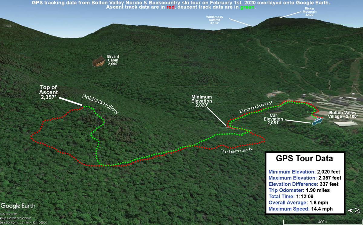 A map with GPS tracking data on Google Earth for a ski tour on the backcountry network at Bolton Valley Ski Resort in Vermont