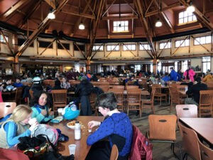 An image from the Great Room Grill restaurant in the Spruce Camp Base Lodge at Stowe Mountain Ski Resort in Vermont
