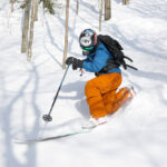 Ty cranking a turn in the powder on the Backcountry Trail Network at Bolton Valley Ski Resort in Vermont