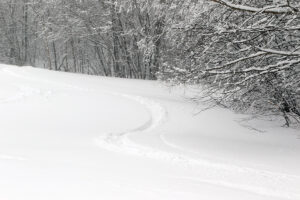 An image of ski tracks in powder during Winter Storm Odell at Bolton Valley Resort in Vermont