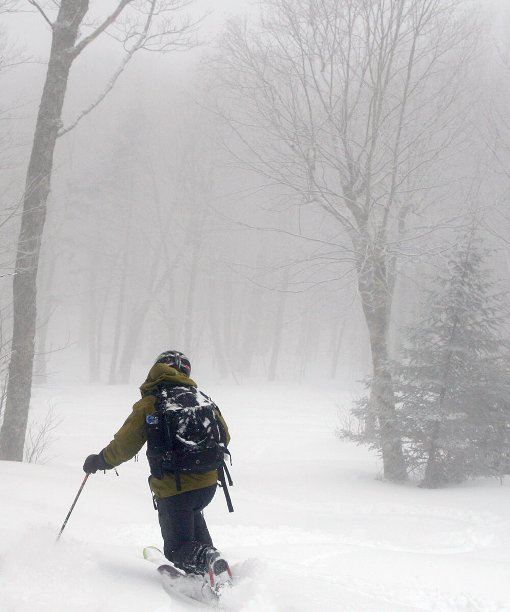 An image of Jay Telemark skiing in powder from Winter Storm Quincy in the Fanny Hill area of Bolton Valley Resort in Vermont