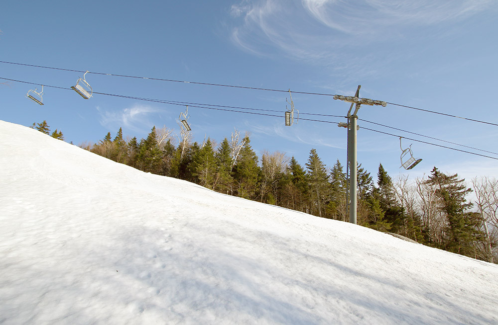An image of the upper part of the Brandywine trail near the junction with Intro below the Timberline Quad chairlift at Bolton Valley Ski Resort in Vermont