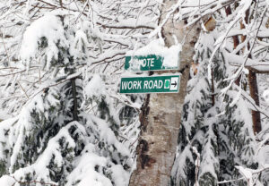 An image of ski trail signs and trees covered with snow during a late-April snowstorm at Bolton Valley Ski Resort in Vermont.