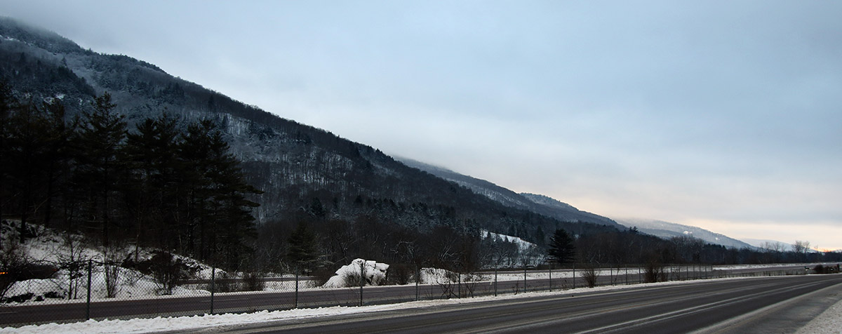 An image looking westward down the Winooski Valley of Vermont near the Bolton Flats area after some snow from Winter Storm John