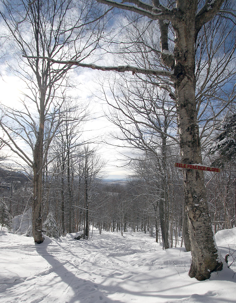 An image of the Telemark Practice Slope during a ski tour on the Nordic, backcountry, and alpine terrain at Bolton Valley Resort in Vermont
