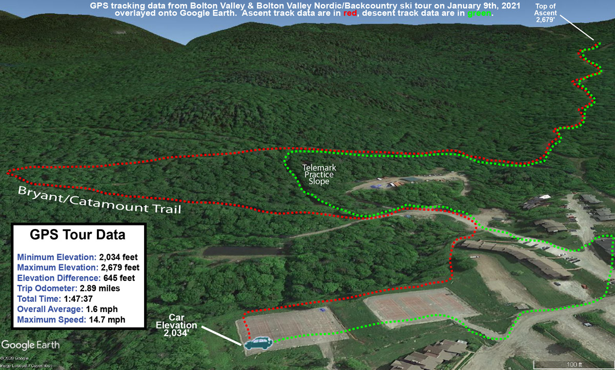 A Google Earth map with GPS tracking data for a ski tour at Bolton Valley Resort in Vermont