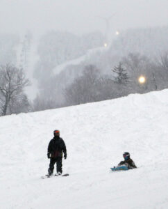 An image of a couple of snowboards in the Valley Road Terrain Park area during Winter Storm Malcolm at Bolton Valley Ski Resort in Vermont