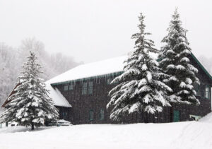 An image of the Timberline Base Lodge during Winter Storm Malcolm at Bolton Valley Ski Resort in Vermont