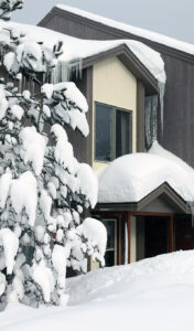 An image of a snow-covered evergreen and house after a week of January snows in the Village area at Bolton Valley Ski Resort in Vermont