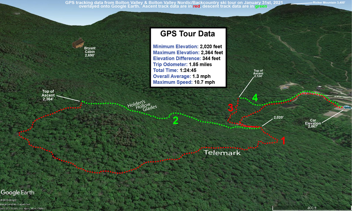 A map showing GPS tracking data on Google Earth for a ski tour on the Nordic & Backcountry Network at Bolton Valley Ski Resort in Vermont