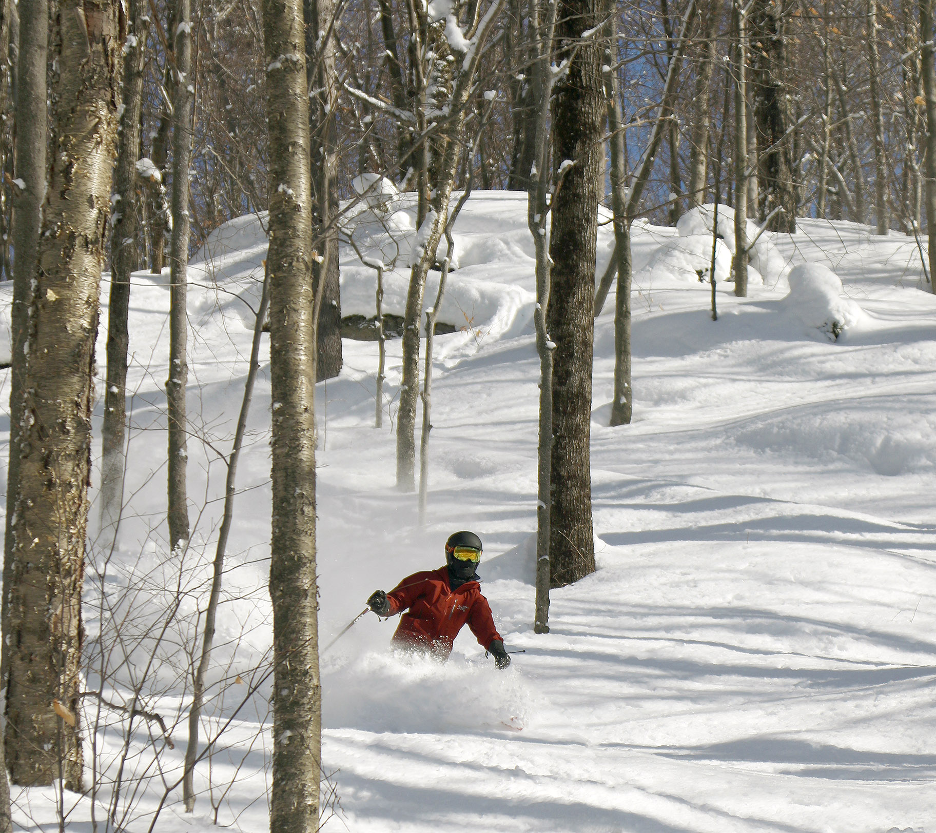 An image of Dylan skiing powder in some open trees at Bolton Valley Ski Resort in Vermont