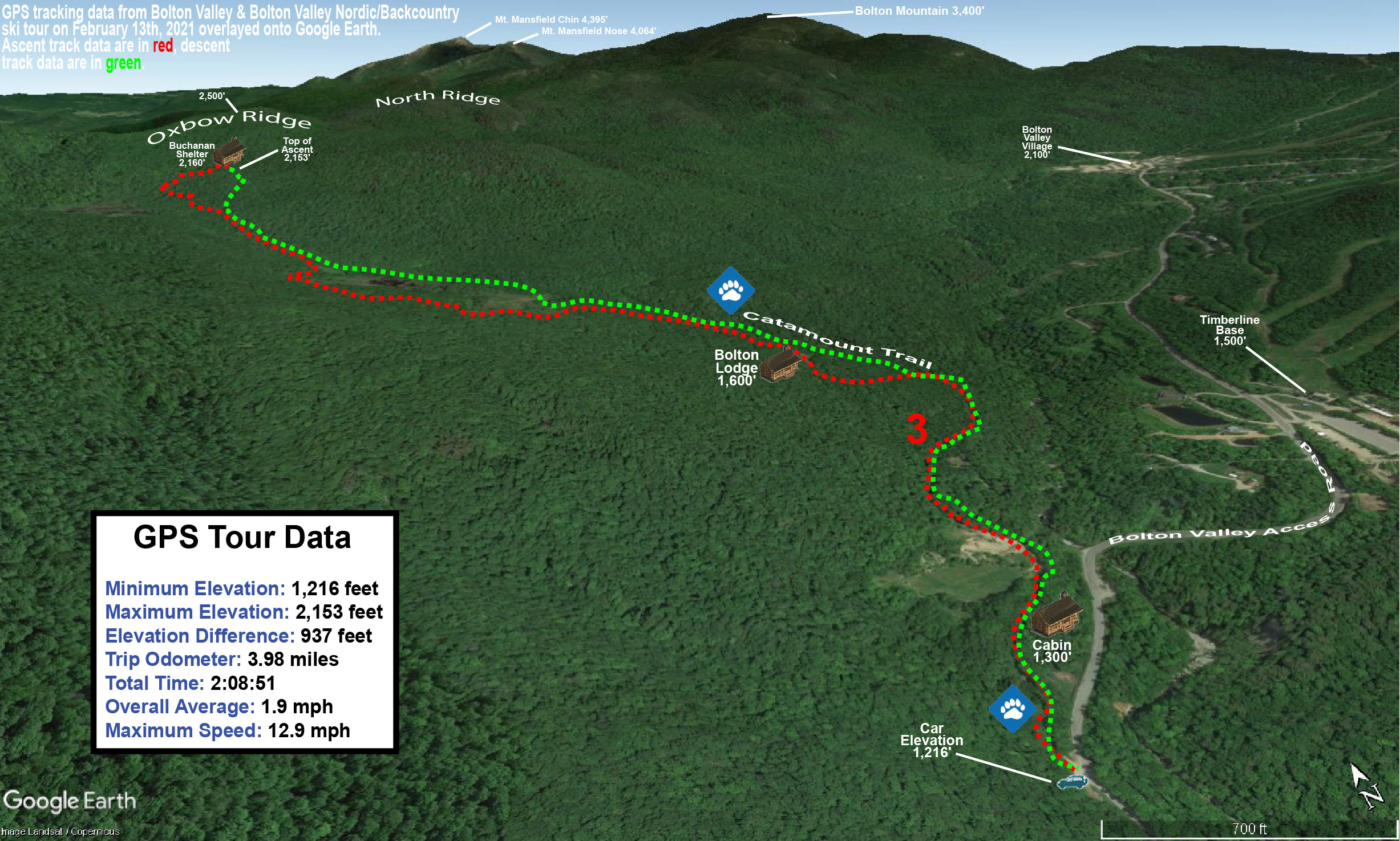 A Google Earth map showing GPS tracking data of a ski tour on the Bolton Valley Nordic & Backcountry Network at Bolton Valley Ski Resort in Vermont