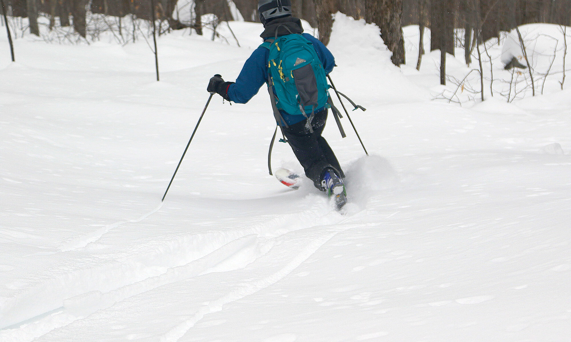 An image of Erica skiing out through powder in the trees below the Buchanan Shelter in the backcountry at Bolton Valley Ski Resort in Vermont