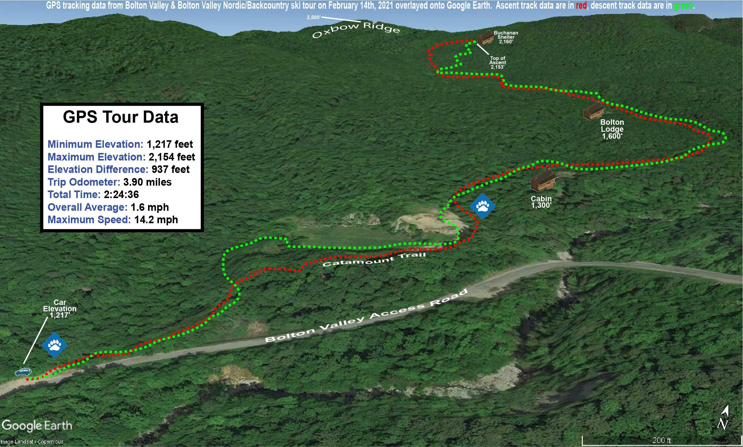 A Google Earth map showing GPS tracking data for a ski tour on the Nordic & Backcountry Network at Bolton Valley Resort in Vermont