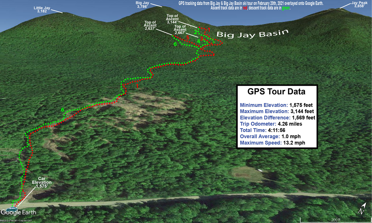A Google Earth map with GPS tracking data for a ski tour in the Jay Peak backcountry in Vermont on February 20th, 2021