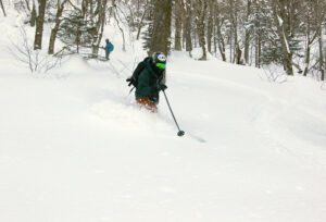 An image of Ty skiing powder in the Big Jay Basin backcountry area near Jay Peak Resort in Vermont