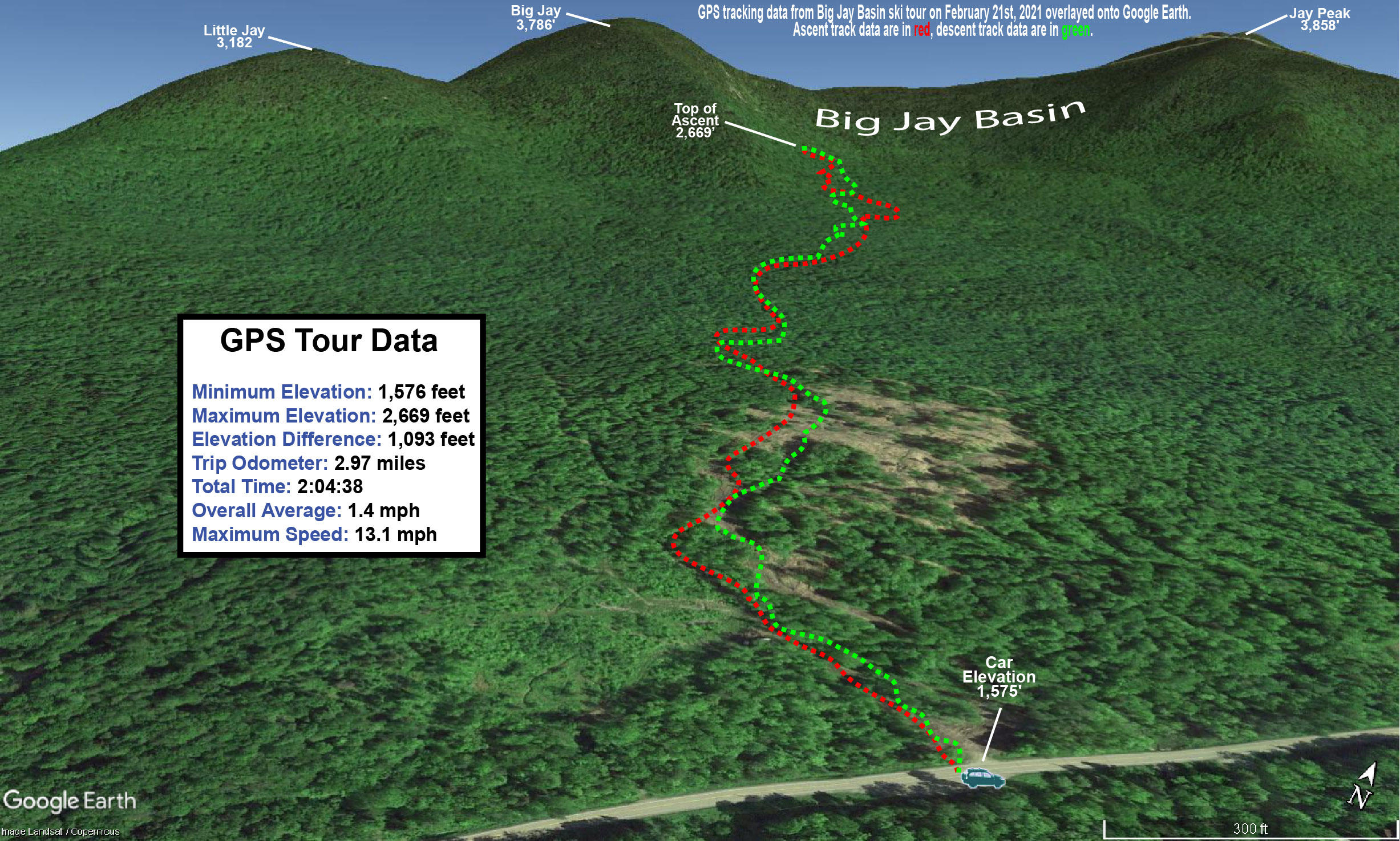 A map showing GPS data on Google Earth for a backcountry ski tour in the Big Jay Basin area near Jay Peak Resort in Vermont