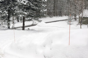 An image of fresh powder snow in front of our house in Waterbury, Vermont after a quick overnight dump of nearly half a foot