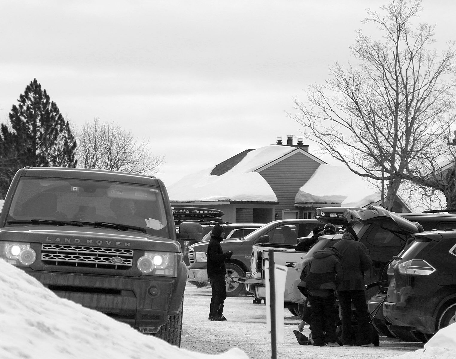 An image from a parking area in the Village on a typical ski day in March at Bolton Valley Ski Resort in Vermont