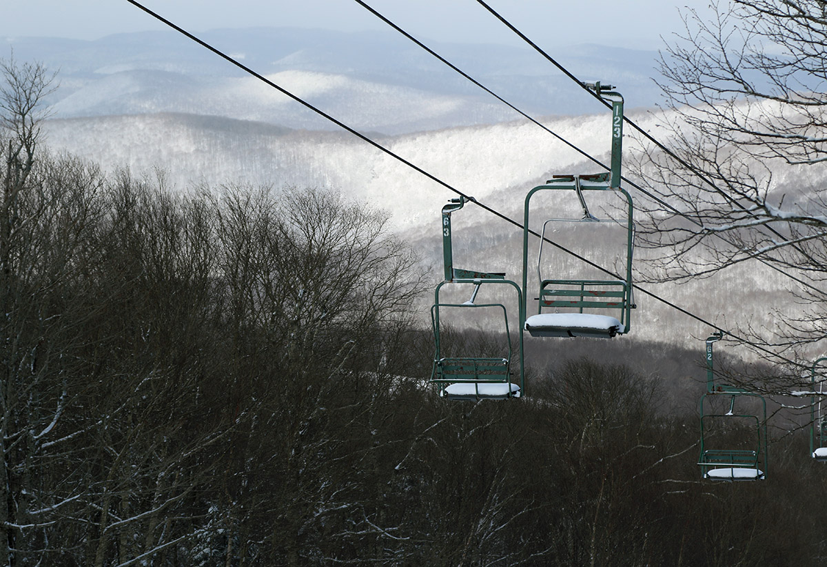 An image of the Wilderness lift after an April snowstorm at Bolton Valley Ski Resort in Vermont