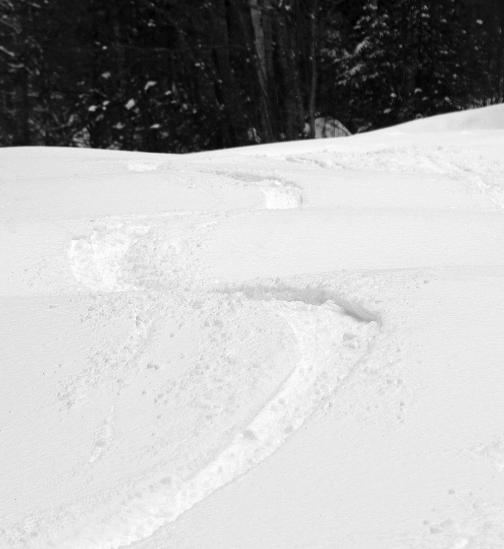 An image showing ski tracks in powder snow after a late April storm at Bolton Valley Ski Resort in Vermont