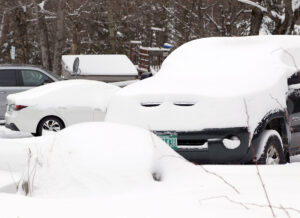 An image of snow accumulations from a late April snowstorm in the Village area at Bolton Valley Ski Resort in Vermont