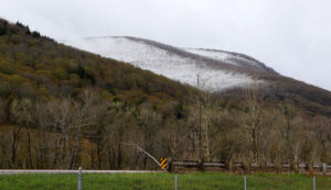 An image showing snow accumulations from an early May snowstorm around the peaks of the Winooski Valley in Vermont