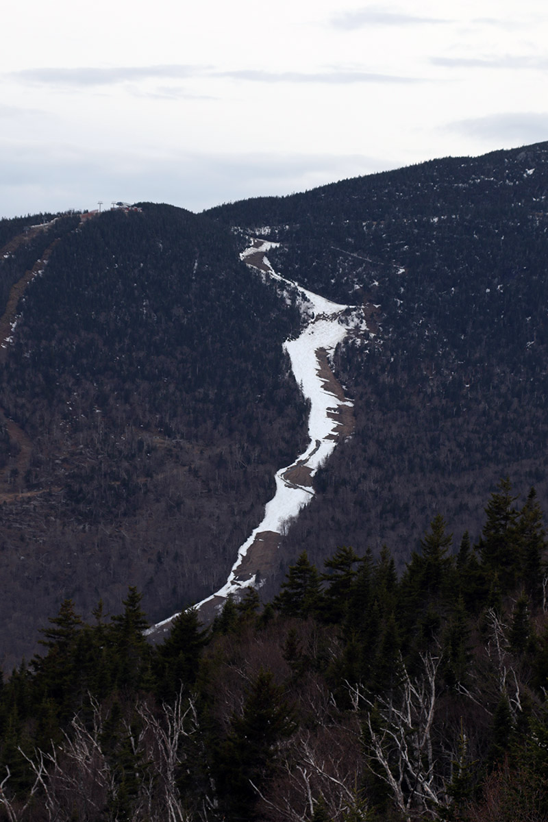 An image from Spruce Peak showing the snow in mid-May on the Nosedive trail on Mt. Mansfield at Stowe Mountain Ski Resort in Vermont