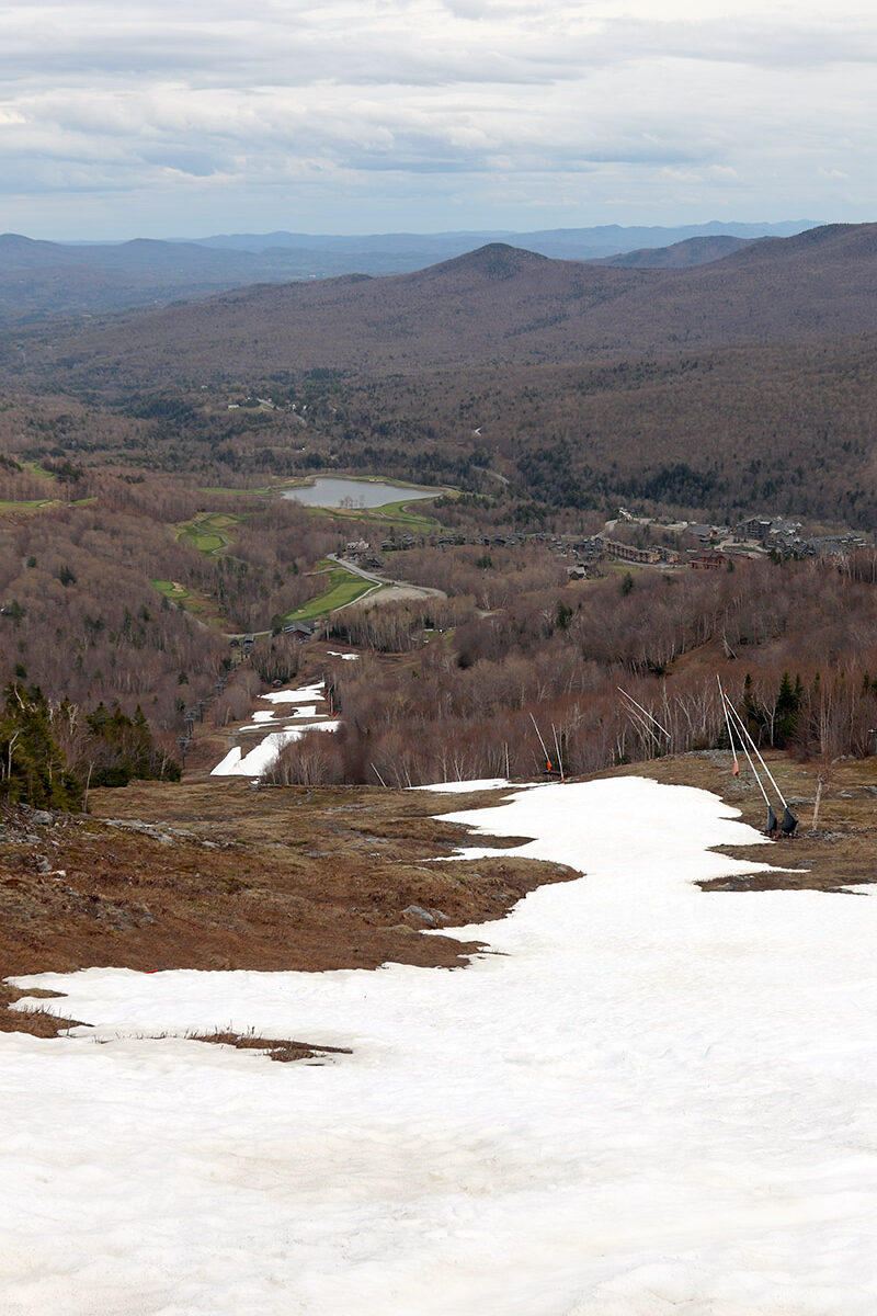 An image of the snow on the Main Street Trail on a May ski day at Stowe Mountain Resort in Vermont